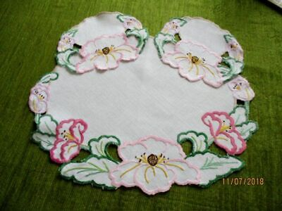 Vintage Tray Cloth-Hand Embroidered Pink Flowers +2 Mats - Linen
