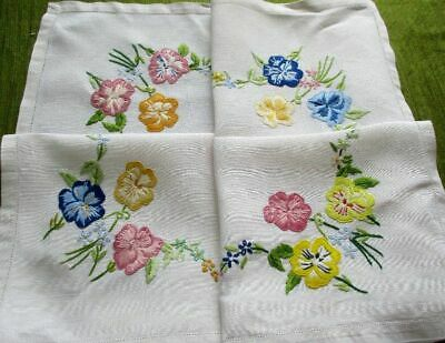 Vintage Tablecloth Hand Embroidered Pansies - Linen