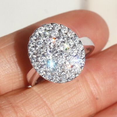 1.6Ct 100% Natural Diamond 14K White Gold Cluster Ring EFFECT 4Ct RWG63-9
