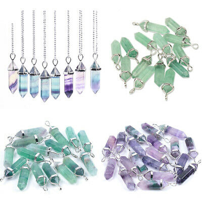 Quartz Natural Stone Healing Crystal Chakra Gemstone Pendant Necklace With Chain