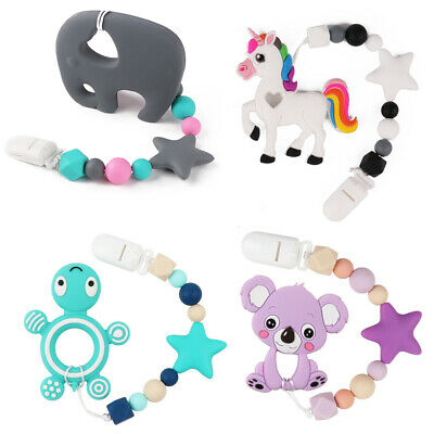 Baby Teether Silicone Beads Teething Toys Bead Pacifier Chain Clip Bracelet Chew