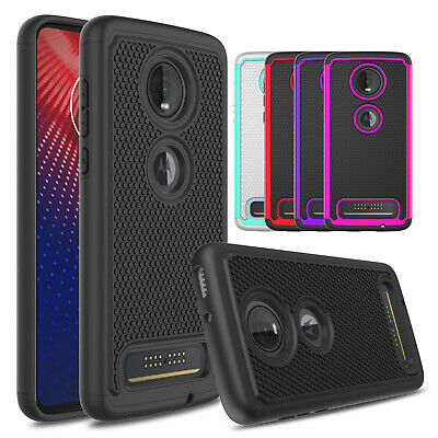 For Motorola Moto Z4 Shockproof Slim Dual Layer Armor Case+Hard Screen Protecter