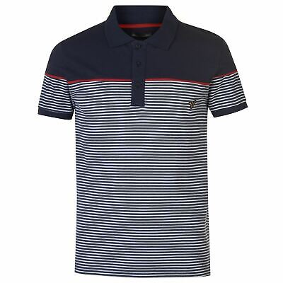VOI Striped Polo Shirt Mens Navy/Red Collared Top Tee Small