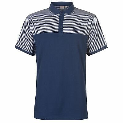 Lee Cooper Stripe Panel Polo Shirt Mens Steel Blue Collared Top Tee Small