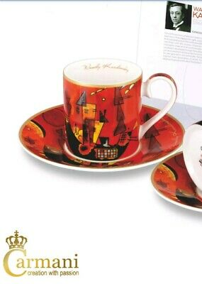 """CARMANI Wassily Kandinsky 1pc  """"With and against"""" set. Cup 0.25L and Saucer 15cm"""