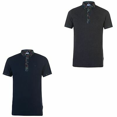 Soviet Paisley Collar Polo Shirt Mens Collared Top Tee Navy X-Small