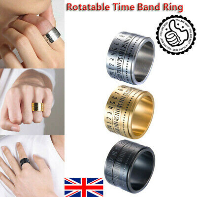 Men's Ring Retro Wide Rotatable Number Clock Time Titanium Steel Band Ring