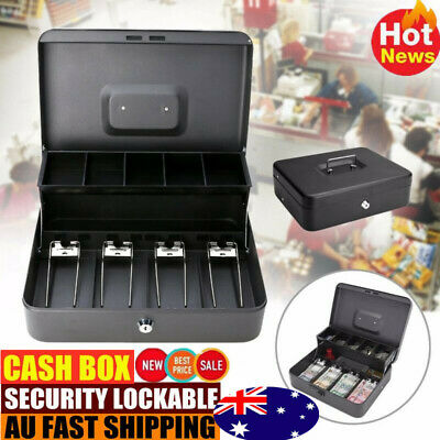 Portable Security Lockable Cash Box Tiered Tray Money Drawer Handy Safe Storage