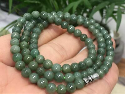 6mm 100% Natural A Oil Green Emerald Jade Beads ~Necklace Have certificate