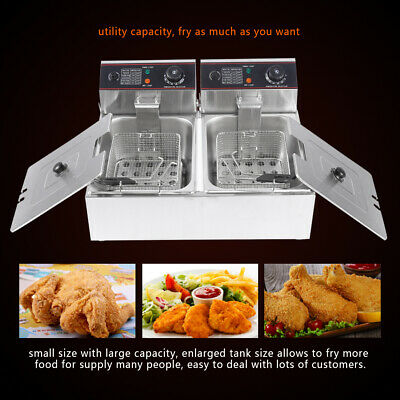 Large 12L Commercial Fryer Electric Twin Basket Double Tank Fish Chips HX-82A UK
