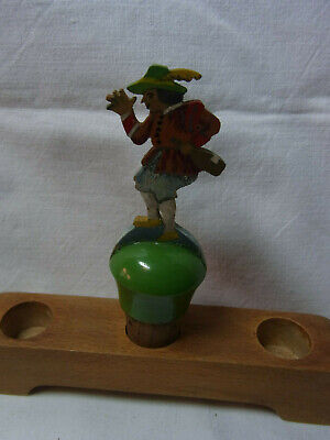 Vintage German Fretwork Hand Painted Bottle Stopper Man #AC28