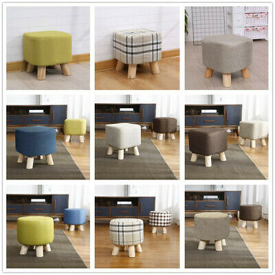 Luxury Small Padded Upholstered Footstool Ottoman Pouffe Stool Wooden 4 Leg NEW