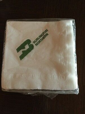 Package Of Paper Napkins Burlington Northern Unopened White Green