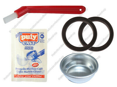 Gaggia Coffee Machine Cleaning Kit Puly Caff Blind Deep Basket Brush Rubber Seal
