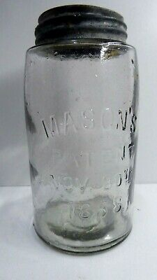 Vintage Embossed Masons Jar  Preserving Bottle