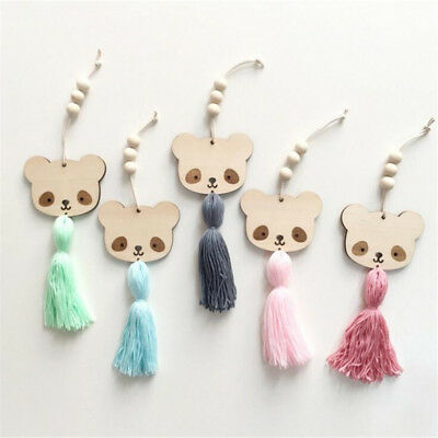 Nordic Style Panda Wooden Beads Tassels Hanging Kids Room Pendant Decor WO