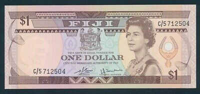 "Fiji: 1980 $1 QEII Portrait ""SCARCE TYPE"". Pick 76a UNC Lt handling Cat $27"