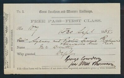 "Australia: Great Southern & Western Railways 1885 ""FREE PASS - FIRST CLASS"" RARE"