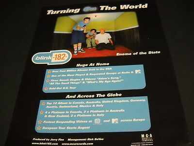 BLINK 182 are TURNING ON THE WORLD 2000 Promo Poster Ad ENEMA OF THE STATE