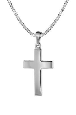 Trendor Jewelry Crucifix Pendant 21 mm White Gold 585 (14 Carat) with Silver