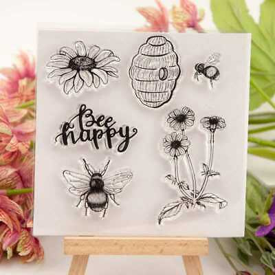 Bee Happy Silicone Clear Stamp Transparent Rubber Stamps DIY Scrapbooking Craft