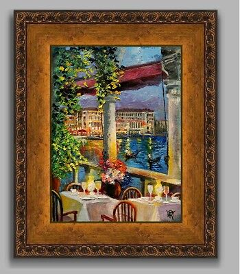 SOLD YARY DLUHOS Venice Italy Grand Canal NIght Cafe FRAMED ORIGINAL Painting