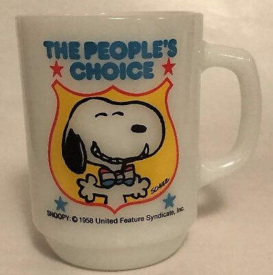 Anchor Hocking Snoopy Coffee Mug The Peoples Choice 1980 Vintage A5
