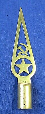 Old BRASS Original Soviet Russian USSR Military Army Flag Pole Top Topper