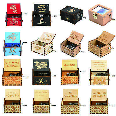 Retro Wooden Music Box Hand Cranked Musical Case Home/Shop Crafts Decor Gifts