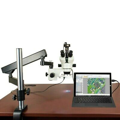 7X-45X Inspection Articulating Arm Zoom Microscope+54-LED Ring Light+2MP Camera