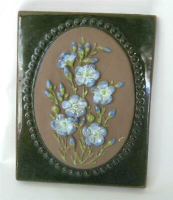 Vintage Jie Gantofta Sweden Art Pottery Wall Plaque Tile Blue Flowers Floral