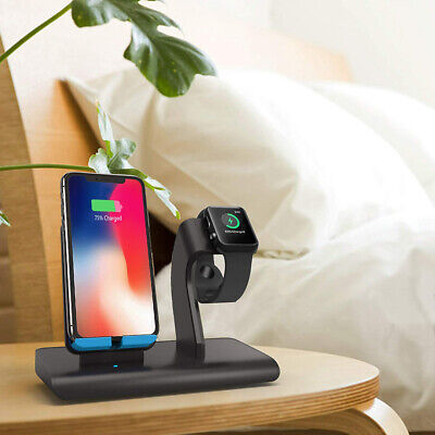 US 2in1 Qi Wireless Charger Dock Stand Holder For Apple Watch iPhone XS Max XR 8
