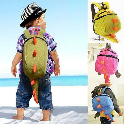 Cartoon Baby Toddler Kids Dinosaur Safety Harness Strap Bag Backpack with Rein W