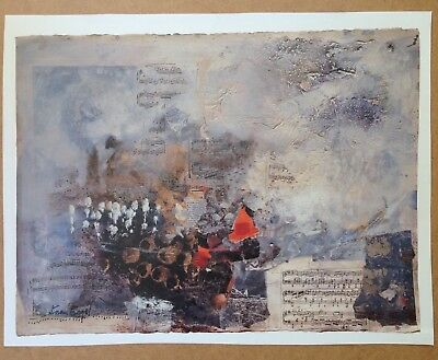 Nissan Engel Print with collage and musical notes. Ligne Melodique 1992