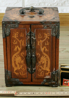 MODELLSCHRANK CHINA ANTIK DRACHEN INTARSIE TRUHE old chinese model casket dragon