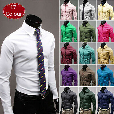 Mens Formal Dress Shirts Long Sleeve Slim Fit Tops Luxury Work Blouse T-shirt UK