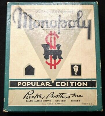 Vintage 1940's Complete PARKER BROTHERS MONOPOLY Popular Edition Board Game