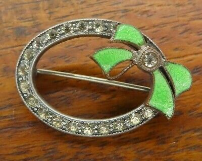 French Art Deco Paste Enamel Guilloche Vintage Sterling Silver Brooch Pin