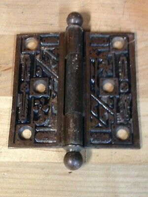 "Antique Vintage Cast Iron 3""X 3"" Victorian East Lake Door Hinge Part"