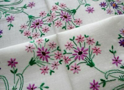 VINTAGE TABLECLOTH HAND EMBROIDERED-BOUQUETS of FLOWERS-LINEN-UNUSED