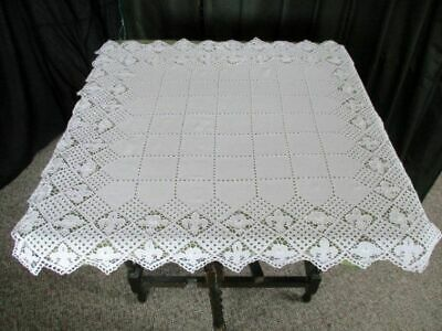 "VINTAGE HAND CROCHET ENGLISH TABLECLOTH-WHITE-32"" x 36"""