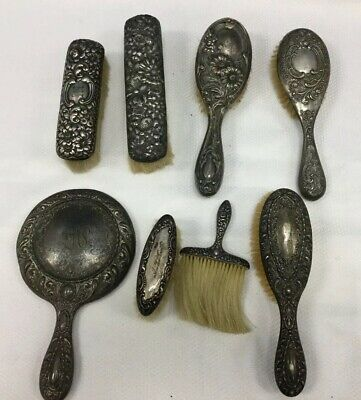 8 Piece Lot Of Sterling Silver Vanity Brushes & Mirror Art Deco Scrap Silver