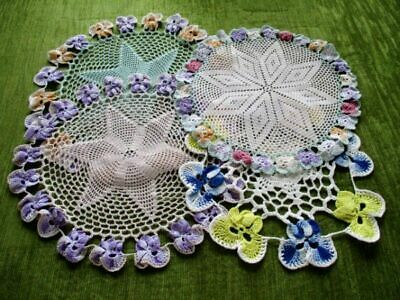 VINTAGE HAND CROCHET PANSY MATS - Col. of 4