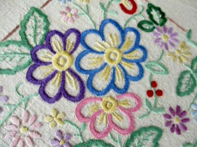 Vintage Tablecloth English Pretty Flowers-Hand Embroidered-Linen