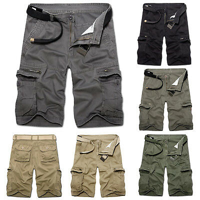 Mens Cargo Shorts Pants Army Combat Tactical Military Plain Work Camping Trouser