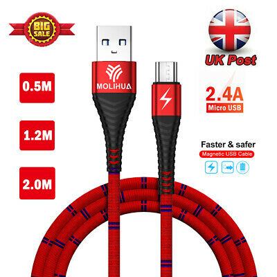 HEAVY BRAIDED MICRO USB HIGH SPEED CHARGING DATA CABLE LEAD for SAMSUNG ANDROID