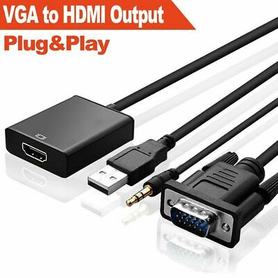 Audio Wire Laptop HDTV Converter VGA Male To HDMI Output 1080P Cable Adapter