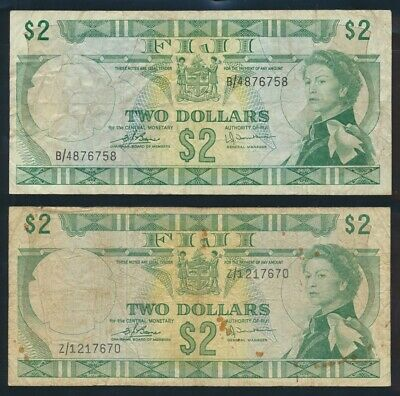 "Fiji: 1974 $2 QEII Barnes-Tomkins ""RARE Z/1 REPLACEMENT + NORMAL"". P72c & 72cr"