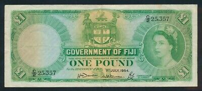 "Fiji: 1-7-1954 £1 QEII Portrait ""SCARCE FIRST DATE"". Pick 53a GOOD VF"