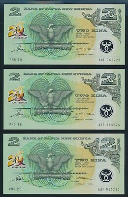 "Papua New Guinea: 1995 2K 20th Anniversary ""CONSECUTIVE TRIO"". P15 UNC Cat $30+"
